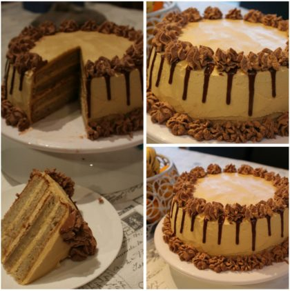 Banana & Peanut Butter Cake With Chocolate Ganache