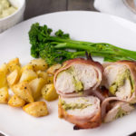 Bacon Wrapped Chicken Breast Stuffed With Cheese, Avocado & Sour Cream