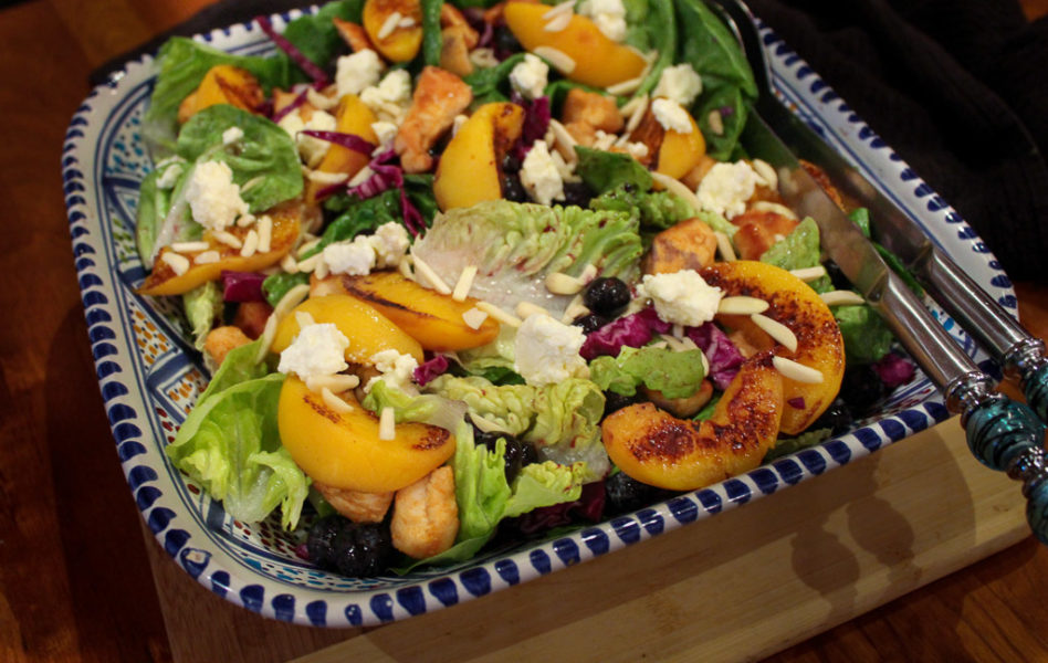 Chicken & Peach Salad With Honey Mustard & Peanut Butter Dressing